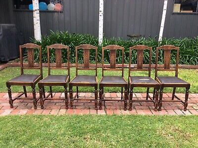 antique OAK DINING CHAIRS original leather seat covers READY FOR SOME TLC