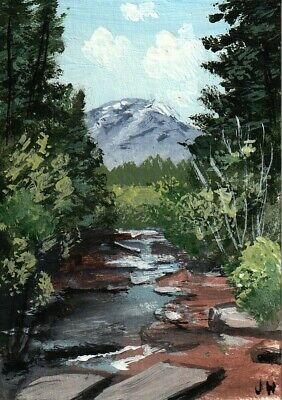 "aceo original acrylic painting ""Slow Ranch Creek"" by J. Hutson"