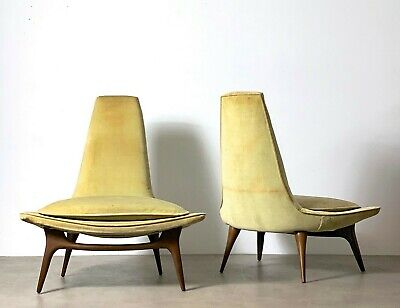 Pair Vintage Mid Century Modern Karpen California Tall High Back Lounge Chairs