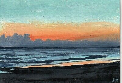 "aceo original acrylic painting ""Sunset Horizon"" by J. Hutson"