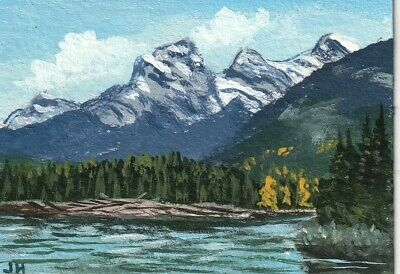 "aceo original acrylic painting ""Mountain Range"" by J. Hutson"