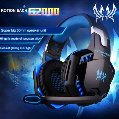 EACH G2000 Pro Gaming Headset 3.5mm LED Stereo PC Headphone Microphone Lot KL