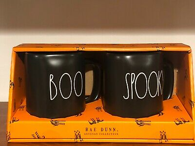 Rae Dunn Halloween Collection By Magenta LL BOO, SPOOKY Black Mug, Set of 2