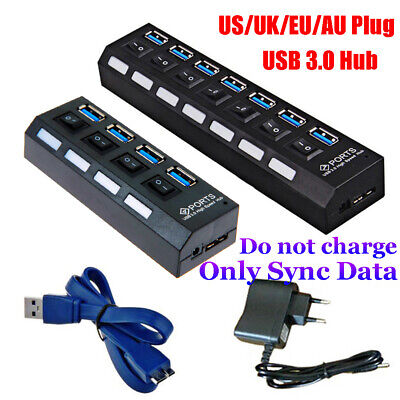 5Gbps High Speed on/Off Switches AC Power Adapter 4/7 Port USB 3.0 Hub For PC