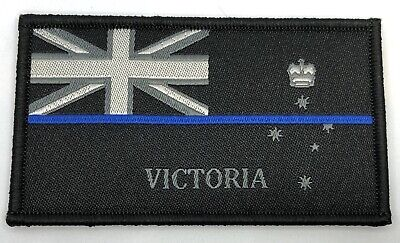 VIC Thin Blue Line, Woven Police Patch *, State Flag, Hooks Rear,TBL