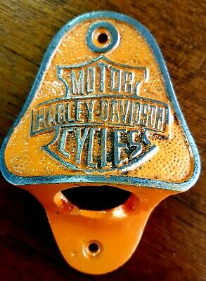 Orange Harley Davidson Wall Mountable Bottle Opener Comes With 2 Mounting Screws