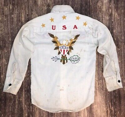 Vintage Levis Embroidered Patch Patchwork Button Down Shirt Boy's Size 8 America