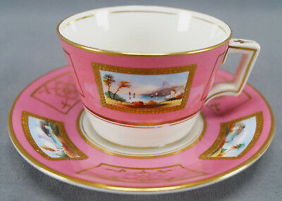Mid 19th Cent Minton Hand Painted Scenic Pompadour Pink & Gold Tea Cup & Saucer