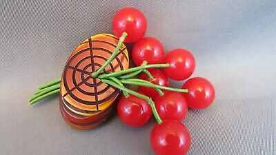 AMAZING RARE 1940's Antique RED BAKELITE CHERRIES Fruit Brooch Pin 100% tested
