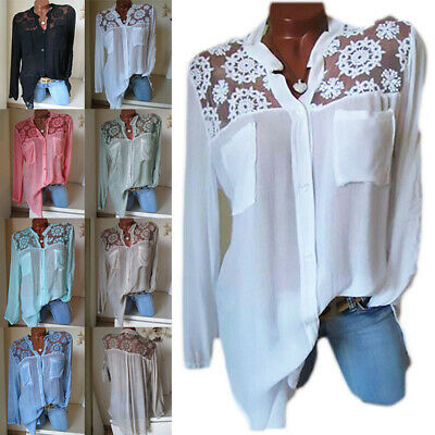 Womens Cotton Linen Blouse Lace Up Tops Shirt Button Long Sleeves Pockets White