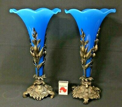 C1900 Pair Of Spelter Based Blue Glass Single Ruffle Edged Trumpet Epergnes.