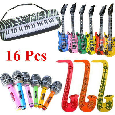 16X Large Inflatable Blow Up Guitars Party Bag Fillers Musical Disco Rock Prop