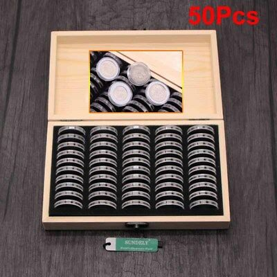 18-30mm 50pcs Round Coins Holders Storage Container Display Cases Wooden Box UK