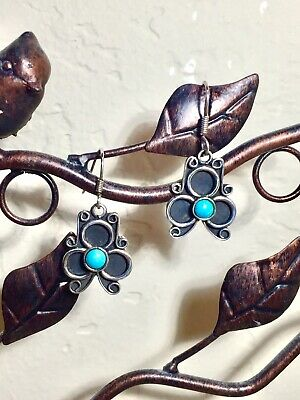 Pretty Antique/Vintage Mexico Signed Sterling Silver & Turquoise Earrings