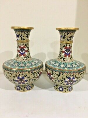Vintage Chinese pair of matching cloisonne vases