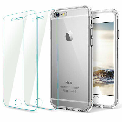 Case and 2PK Screen Protectors for iPhone 11 XR Xs Max 6 6S 7 8 Plus Cover Clear