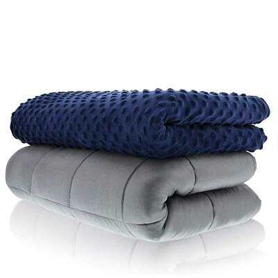 Weighted Blanket Adult Size-for Heavy Stress Relief, 48x72 -15 LB, Navy