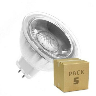 Pack 5 Lámparas LED GU5.3 MR16 COB Cristal 12V 45º 5W