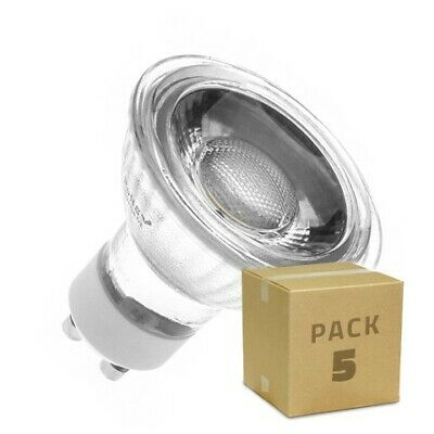Pack 5 Lámparas LED GU10 COB Cristal 45º 5W Bombillas LED Packs de