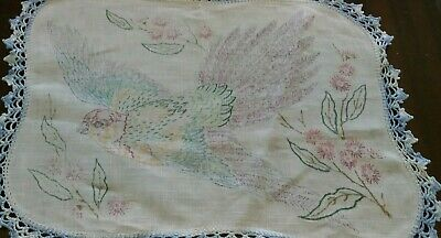 LARGE  LINEN DOILY with  crochet edge ready to embroider.