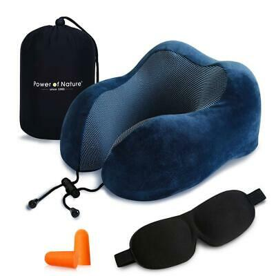 PON Memory Foam Travel Pillow - The Best Neck with 360 Head BLUE-1