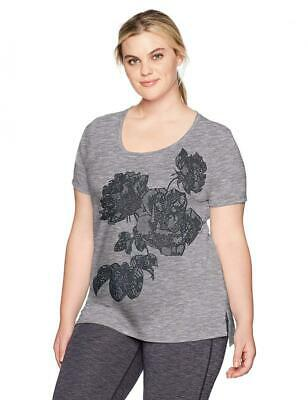 Just My Size Womens Plus Short Sleeve 2X, Lace-Filled Roses/Black Heather