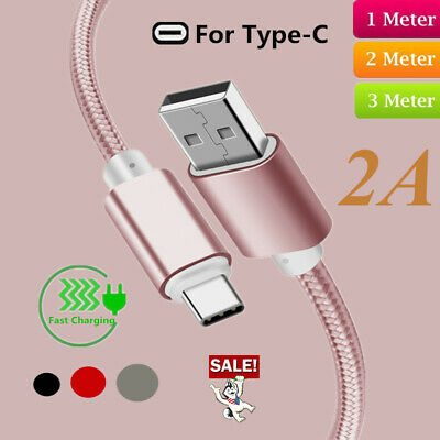 Heavyduty Braided Fast Charge USB C Type C Data Phone Charger Cable 1m/2m/3m