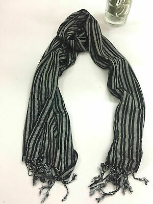 LADIES TRADITIONAL COLORFUL black silver HIPPIE BOHO SCARF 60 X 170 CMS