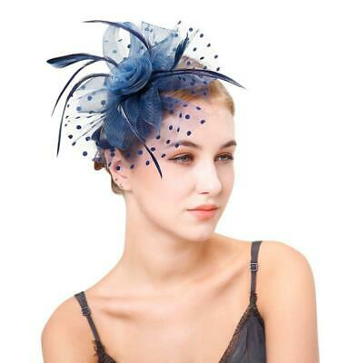Vintage Hair Ornaments Fascinators for Women Hat Cocktail Mesh Feather Black