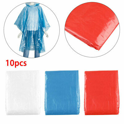 10pcs Adult Emergency Waterproof Disposable Rain Coat Poncho's Hiking