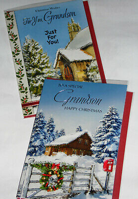 GRANDSON CHRISTMAS CARDS X 12, JUST 29p, SRP £1.39, 2 DESIGNS x 6, WRAPPED (B720
