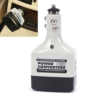 Auto Charger Adapter DC 12V To AC Converter 220V Mobile Charger Power + USB SE