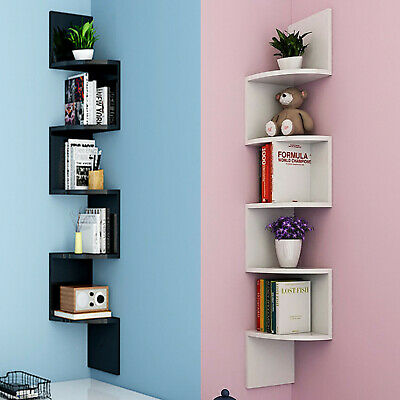 5 Tiers Corner Shelf Floating Wall Shelves Storage Display Books Home Bl