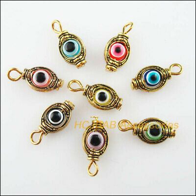 16Pcs Antiqued Gold Tone Mixed Round Resin Eye Oval Charms Pendants 8x17mm