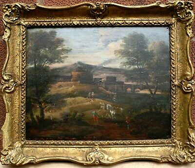 17thCen OLD MASTER Antique Oil Painting Figures in a Italianate River Landscape