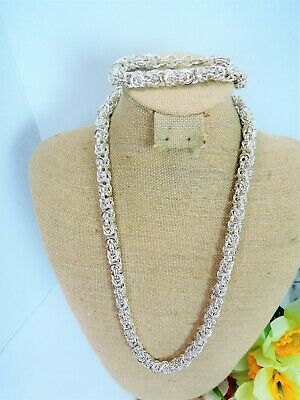 Heavy Thick Unusual Vintage Silver Plated Byzantine Chain Necklace & Bracelet