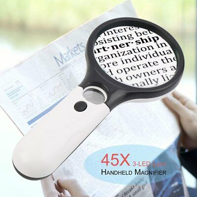 3-LED Light 45X Handheld Magnifier Reading Magnifying Glass Jewelry Loupe O2