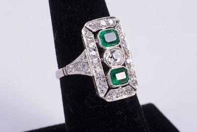 Wonderful Rich Green 1.20CT Emerald With Oval & Round Old Cut CZ Art Deco Ring