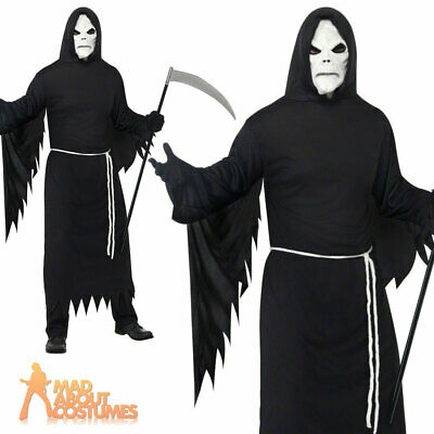 Adult Black Grim Reaper Costume Mens Halloween Scary Skull Fancy Dress Outfit
