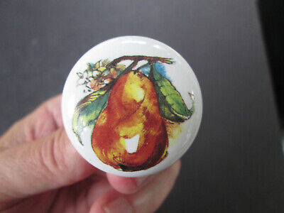 Vintage White Porcelain Drawer Pull Cabinet Knob w Painted Pear 4043
