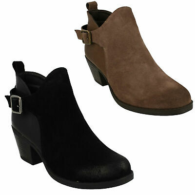 LADIES DOWN TO EARTH BLOCK HEEL LEATHER BLACK BROWN TAUPE ANKLE BOOTS F5R0678