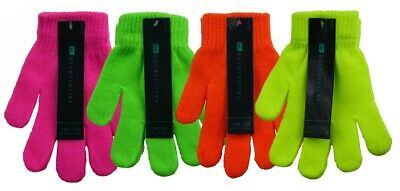 1 Childs Kids Thermal Magic Stretch Fluorescent Neon Gloves / One Size