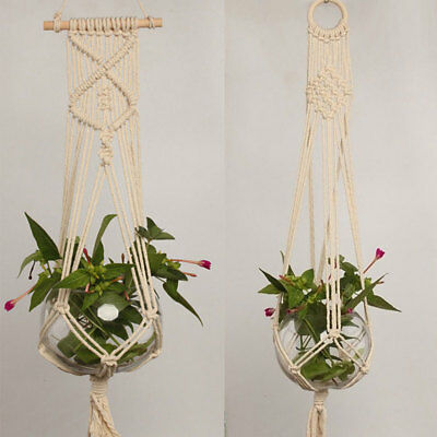 Handcrafted Braided Hemp Rope Macrame Plant Hanger Pot Holders Hanging Basket FI