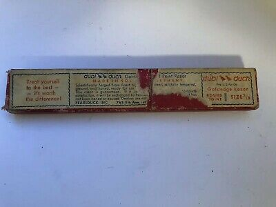 "Vintage  Good Condition Dubl Duck Goldedge 5/8"" RP  Red Straight Razor Box Only"
