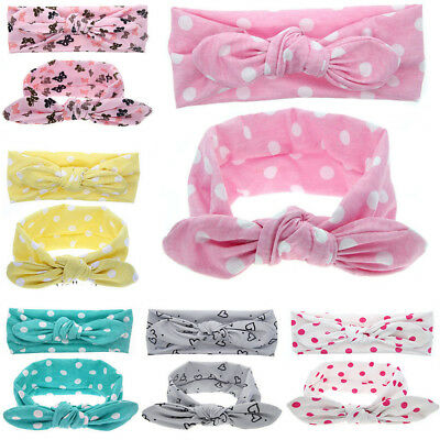 CN/_ FM Kid Girls Cute Rabbit Ear Knot Hair Band Headwrap Floral Dotted Headba