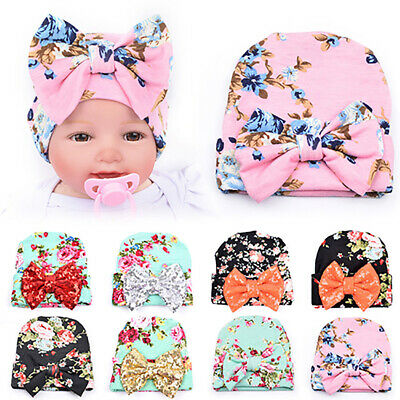 EE_ Newborn Baby Infant Girl Toddler Bowknot Hospital Cap Floral Beanie Hat Beam
