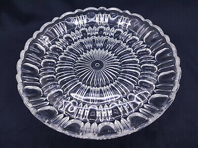 Beautiful Vintage Retro Large Pressed Cut Crystal Glass Charger Plate Tray