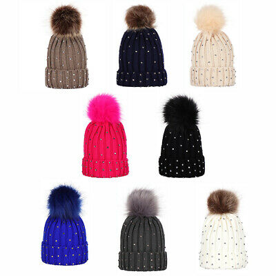 EE_ CW_ Winter Kids Warm Solid Color Beanie Cap Knitted Pompom Rhinestone Decor