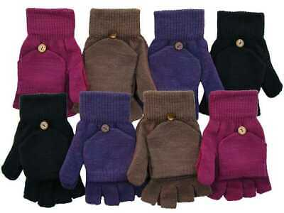 Ladies Girls Combo Mittens Winter Gloves Fingerless fold over cap Warm Winter