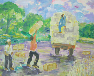 Making Hay the Old-Fashioned Way: a large painting on canvas by Jenny Hare